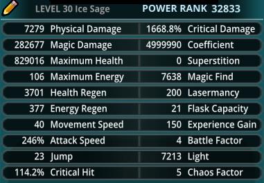 Trove account Ice Sage 32.8k stats